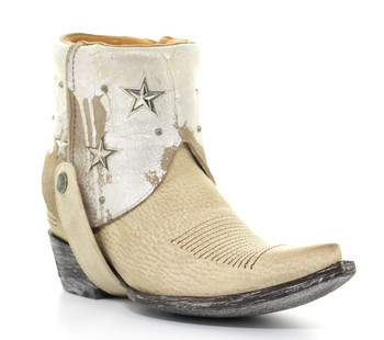 """L1476-2-SS OLD GRINGO LORENA 7"""" BEIGE/WHITE LEATHER ANKLE BOOTS"""
