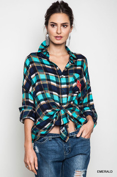 A9865 UMGEE Bohemian Cowgirl Oversized Plaid Button Up Top Emerald