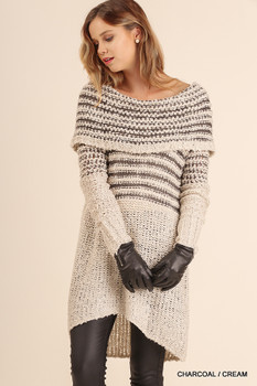 U0036 UMGEE Bohemian Cowgirl Off Shoulder Knit Dress Charcoal/Cream