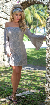 Union Of Angels Barbara Taupe Embroidered Cotton Cowgirl Dress