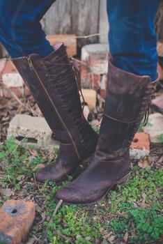 """U2006 Miss Macie Gypsy Cowgirl Gypsy Rider Chocolate 14"""" Leather Boots"""