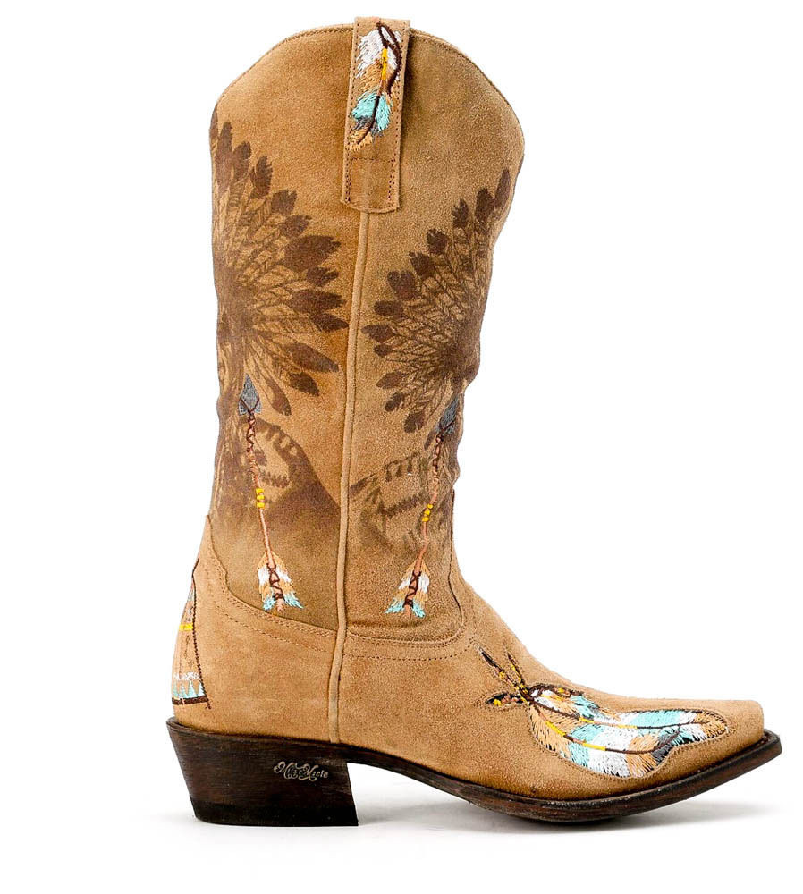 U6008-1 Miss Macie Shawnee Bone Beige Indian Feather Boho Cowgirl ...