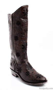 L 543-10 OLD GRINGO LADANE RAZZ CHOCOLATE BROWN FLORAL EMBROIDERED BOOTS