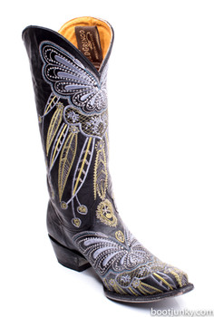 L1135-3-SS Old Gringo Lakota Black Multi Embroidered Boots