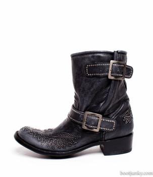 """L1219-2  Old Gringo Casty Swarovski Crystal Black 8 """" Biker Boot"""