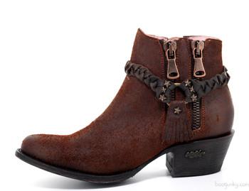 U7003-1 Miss Macie Brash-N-Sassy Cinnamon Chocolate Ankle Leather Boots