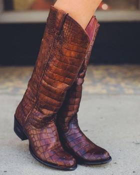 U7000-1 Miss Macie Gypsy Cowgirl What A Croc Tall Leather Boots