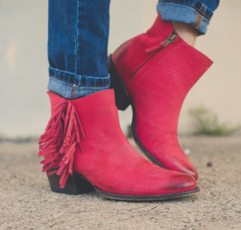 U7001-1 Miss Macie Gypsy Cowgirl Red On the Fringe Ankle Leather Boots