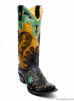 """L1115-5 OLD GRINGO LETTY NAVY BLUE GOLD INLAY 13"""" LEATHER BOOTS"""