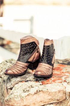 U7507-1 Miss Macie Piper Bone Chocolate Boho Cowgirl Leather Ankle Boots