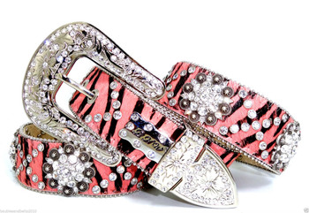 a07. BHW Cowgirl Western Zebra Pink Antique Silver Berry Concho Leather Belt