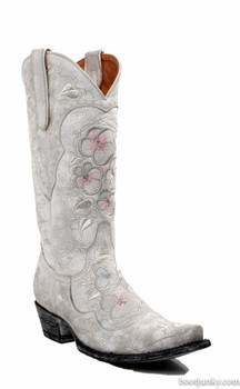 L2621-3 OLD GRINGO PANSY WEDDING WHITE CRACKLED COWGIRL BOOTS