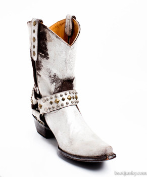 """L1086- 7-SS OLD GRINGO HANNA WHITE CHOCOLATE METALLIC STUDDED 10"""" COWGIRL BOOTS"""