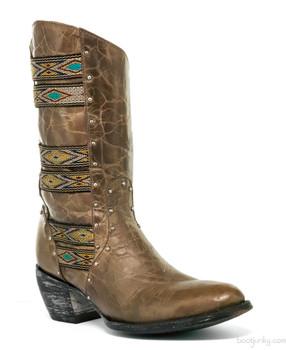 "L1279-5-SS Old Gringo Elina Vesuvio Gray 10"" Cowgirl Leather Boots"