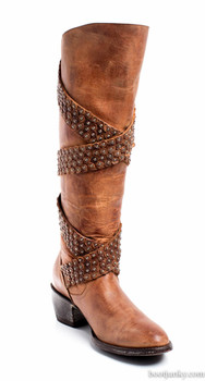 """L1296-2-SS OLD GRINGO BUZZY BRASS BROWN 15"""" LEATHER BOOTS"""