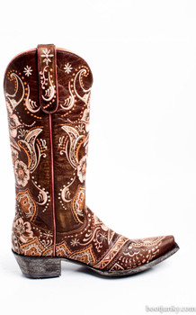 L1629-4-SS Old Gringo Olivia Brass/Pink/Coral Laser Cut Cowgirl Boots