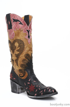 """L1115-3 OLD GRINGO LETTY BLACK BUTTERCUP PINK 2012 TOE/HEEL INLAY 13"""" LEATHER BOOTS"""