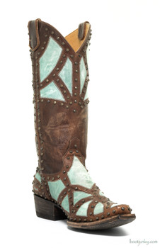 L1336-2-SS OLD GRINGO PAOLA BRASS TURQUOISE COWGIRL LEATHER BOOTS