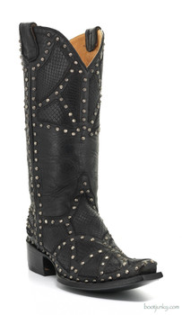 L1336-3-SS OLD GRINGO PAOLA MIDNIGHT BLACK COWGIRL LEATHER BOOTS
