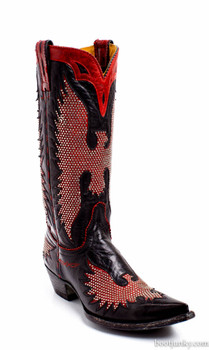"""L1276-2-SS OLD GRINGO BLACK RED IRON EAGLE 13"""" LEATHER BOOTS"""