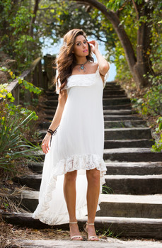 14.Bronte Collection Royce White Romantic High Low Sexy Lacey Dress