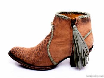BL1116-26-SS Old Gringo 'Adela' Ochre Aqua Trim Leopardito Leather Ankle Boot