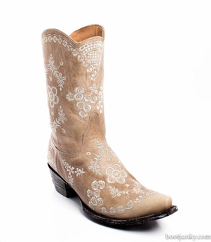"""L1711-4-SS Old Gringo Tarren Bone White Floral Embroidered Cowgirl 10"""" Boots"""