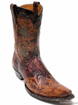 "L 412- 05-SS Old Gringo Cactus PeeWee 10"" Brass Novularis Chocolate Boots"