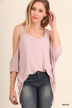 C0235 UMGEE Bohemian Cowgirl Open Shoulder Tunic Top with Detachable Inner Lace Bralette with Choker Neck Detail  Mauve