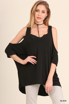 C0235 UMGEE Bohemian Cowgirl Open Shoulder Tunic Top with Detachable Inner Lace Bralette with Choker Neck Detail  Black
