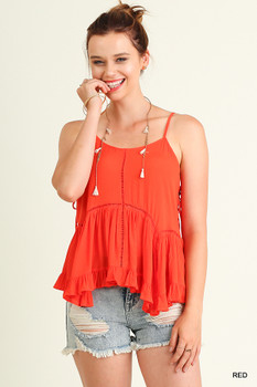 G0236 UMGEE Bohemian Cowgirl Sleeveless Babydoll Top with Ruffled Hemline Red