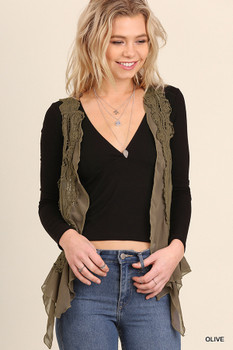 UM3096 UMGEE Bohemian Cowgirl Knit Crochet Vest Olive
