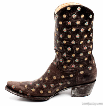"""L1793-3-SS OLD GRINGO FLORES MUCHAS 10"""" BROWN COWGIRL BOOTS"""