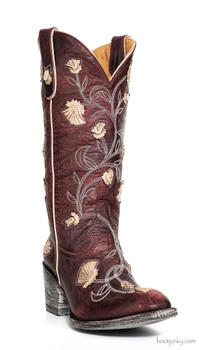 L 664-10 OLD GRINGO ABBY ROSE WOMENS BOOTS RED BONE WESTERN OVERLAY FLORETS