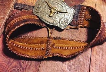 U of A Cattleman Leather Braided Belt