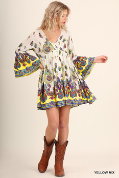 A2933 UMGEE Bohemian Cowgirl V-Neck Peasant Dress with Bell Sleeves