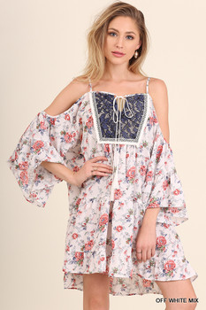 R7411 UMGEE Bohemian Cowgirl Floral  Cold Shoulder Dress with Lace and Tie Detail