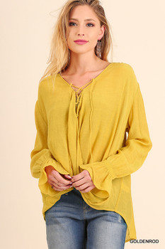 G0556 UMGEE Bohemian Cowgirl Long Sleeve Wrap Style Top with Bell Sleeves and Neck Tie Details