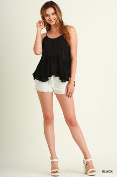 G0236 UMGEE Bohemian Cowgirl Sleeveless Babydoll Top with Ruffled Hemline Black