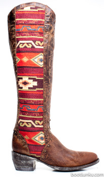 """L1605-1-SS Gorgeous Old Gringo Tela Elina Brass / Red Multi Leather Tall 18""""  Boots"""