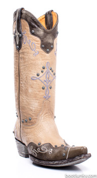 """L1614-3-SS Gorgeous Old Gringo Alissa 13"""" Grey / Bone Cowgirl Boots"""