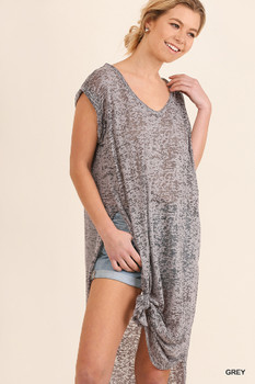 C0363 UMGEE Bohemian Cowgirl Short Sleeve Top Grey