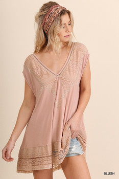 G0757 UMGEE Bohemian Cowgirl Short Sleeve V-Neck Tunic Blush