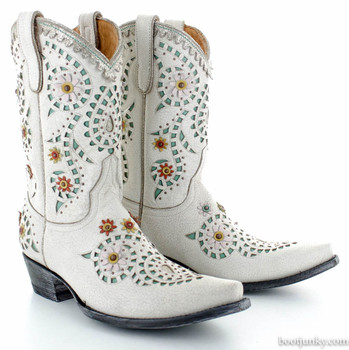"""L2835-2 OLD GRINGO TORRES WHITE TURQOISE DISTRESSED 10"""" COWGIRL BOOTS"""