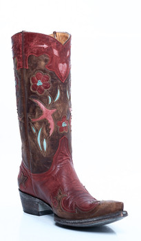 """L 179-13-SS OLD GRINGO GOLONDRITA RED/BRASS 12"""" LEATHER COWGIRL BOOTS"""