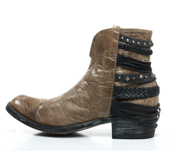 BL1359-1-SS Old Gringo Hippiton Grey / Black Leather Ankle Boots