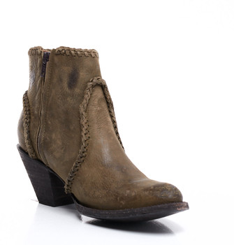 BL1116-43-SS Old Gringo 'Adela' Distressed Military Green Fringe Leather Ankle Boots