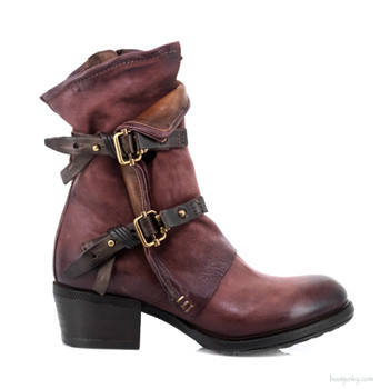 "AS98 Chilly  Amaranto Red & Cognac 8"" Leather  Ankle Boots"