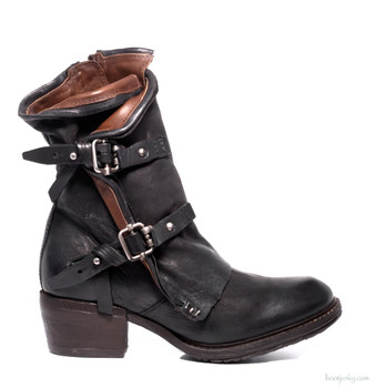 "AS98 Chilly  Nero Black  8"" Leather Ankle Boots"