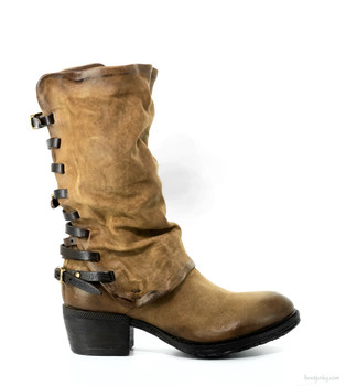 "AS98 Costello Daino Carmel Tan 12"" Leather Buckle Boots"